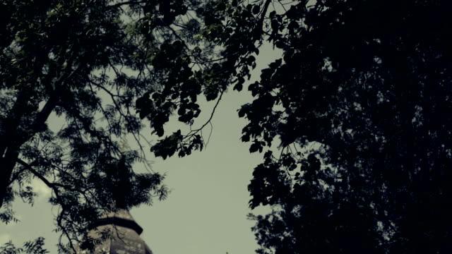 Horror scene at cemetery, graveyard. Scary, terrifying, depressing atmosphere. video