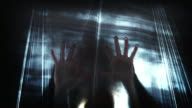 4K Horror Shot Of Hands Silhouette on Plastic Curtain video