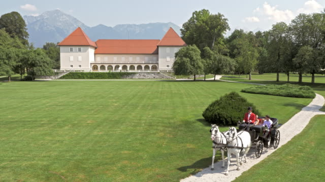 AERIAL Horse carriage riding around a castle park video