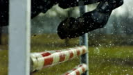 Horse jumping in the rain video