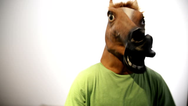 Horse mask. Funny video. video
