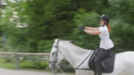 Horse rider practicing in the longe video