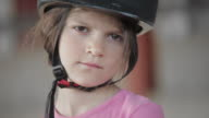 Horse riding girl looking in the camera. Pensive. Melancholic. video