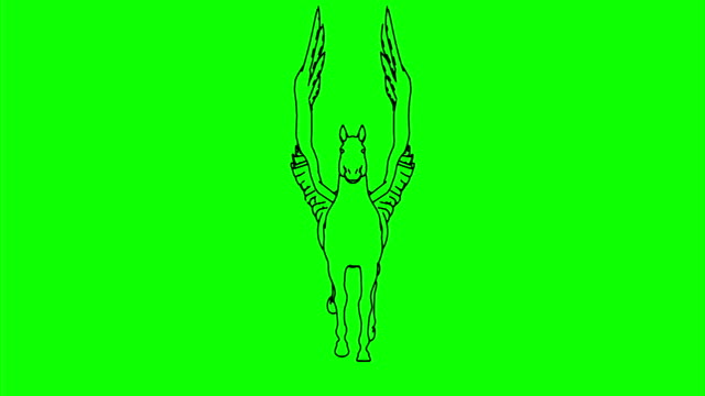 Horse_Run_Cycle_Front_View_Line_Draw_Green_Mat video