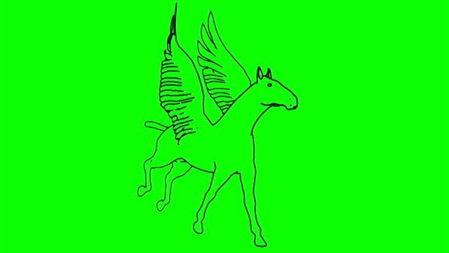 Horse_Run_Cycle_Line_Draw_Green_Mat video