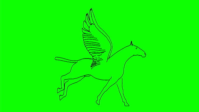 Horse_Run_Cycle_Side_View_Line_Draw_Green_Mat video