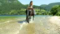 HD SLOW-MOTION: Horseback riding in the lake video