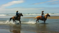 Horseback riding on beach, slow motion speed ramp video