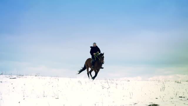 horseman in winter scenery video
