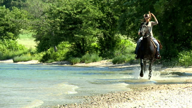 HD SLOW-MOTION: Horseriding in the lake video