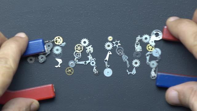 Horseshoe Magnet In Human Hand Writing Word NANO With Metal Clockworks On Blackboard video