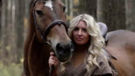 Horsewoman in the woods video