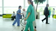 Hospital doctors and nursing staff with patients video
