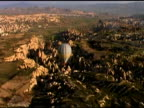 Hot Air Balloon floating over Fairy Chimneys Gorme Cappadocia Turkey video