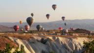 Hot air balloon flying over Cappadocia in Turkey video