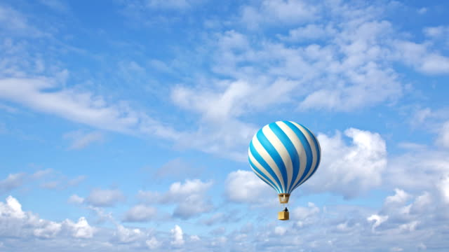 Hot air balloon in the blue sky video