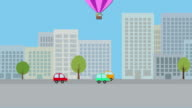 Hot air balloon with young boy and girl flying over city video