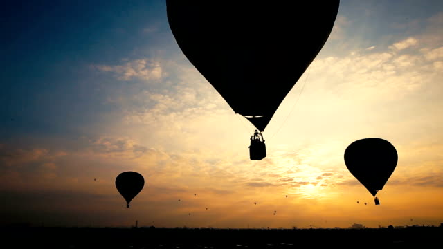 Hot air balloons in beautiful sunrise video