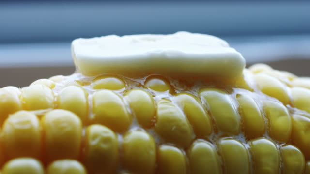 Hot cob of boiled corn with butter. video