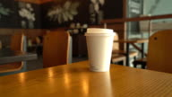 hot coffee cup in cafe video