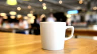 Hot cup on the table in a restaurant video