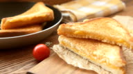 Hot grilled sandwiches with golden cheese video