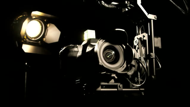 Hot head camera on jib crane in action video