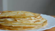 hot pancakes on a plate horisontal video