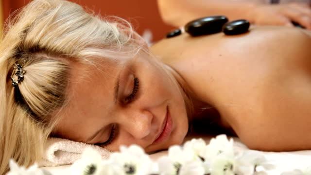 Hot stone massage in spa video