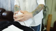 Hot Towel Shave in Barber Shop video