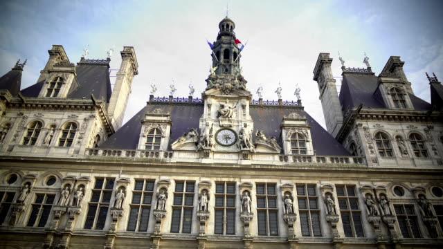 Hotel de Ville in Paris, sightseeing in France, beautiful European architecture video