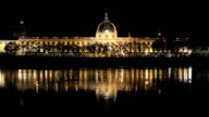 Hotel Dieu in Lyon France at Night video