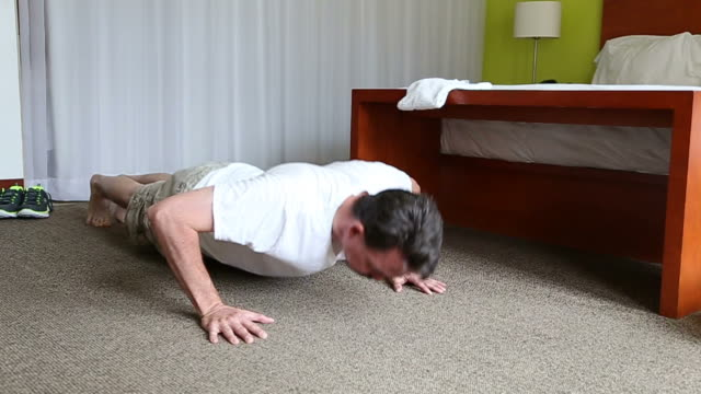 Hotel Exercise Man Pushups video