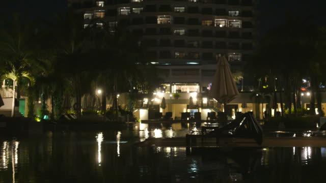 Hotel pool at night video