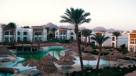 Hotel Resort with Blue Pool, Palm Trees and Sunbeds in Egypt video