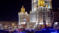 Hotel Ukraine winter night timelapse hyperlapse with ship on Moscow River video