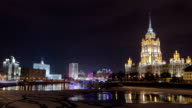 Hotel Ukraine winter night timelapse. Seen as reflected in the Moscow River video