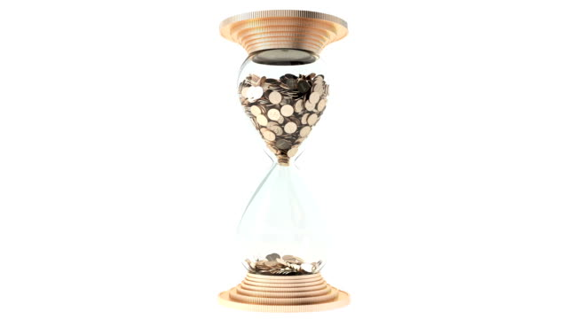 hourglass with golden sand dollars instead of rotate. White background. Isolate. Loop. 1080 full HD. video