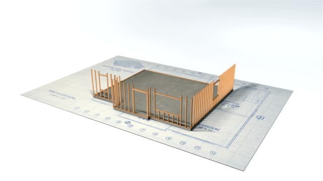 3D House and Blueprint Construction Time Lapse video