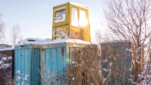 House container in the winter forest video
