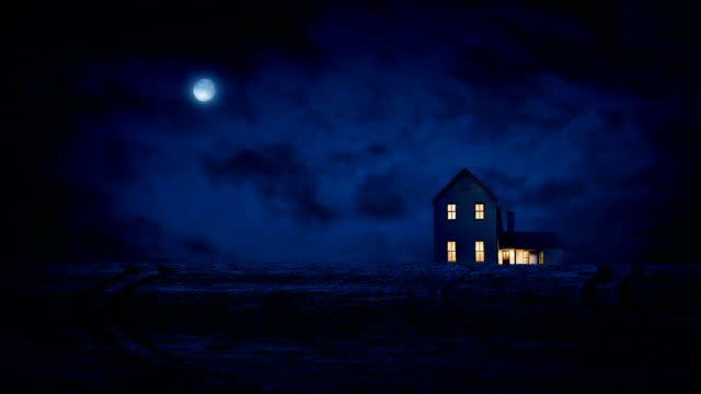 House In Country At Night With Moon video