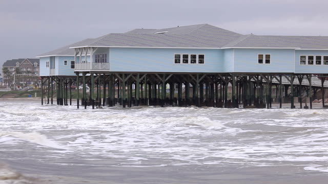 House on stilts at the Gulf of Mexico video