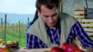 House wear full of fresh picked apples video