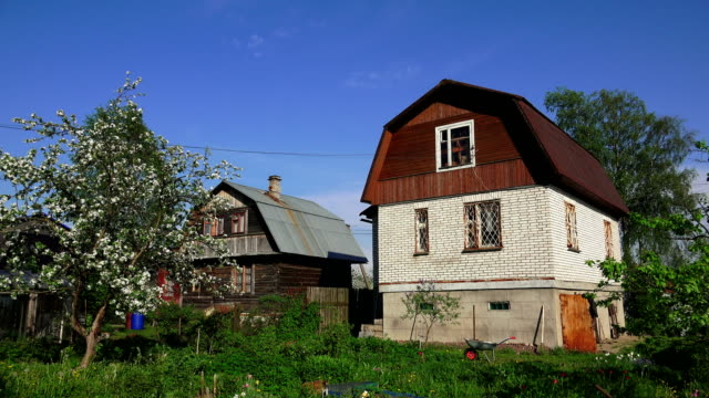 House white brick in the village. 4K. video