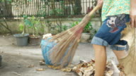 housekeeper  sweeping foliage video