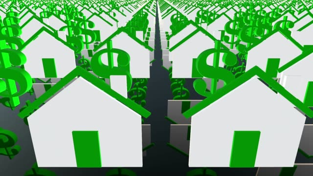 Houses and dollar icons in white and green video