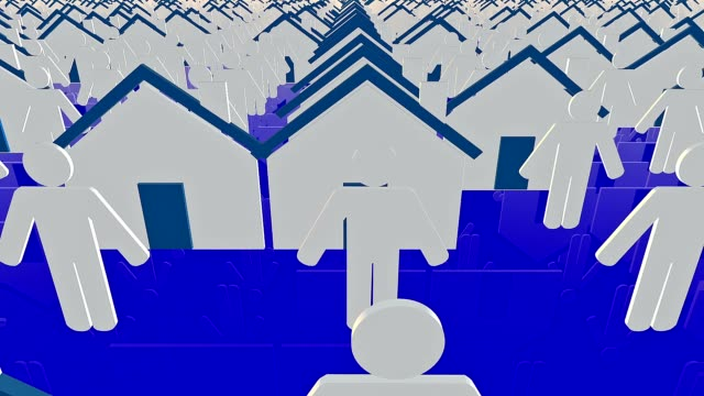 Houses and person icons in white and blue video