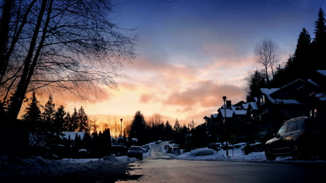 Houses In Snowy Landscape At Sunset video