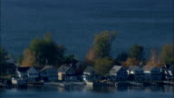 houses on Sodus bay - Aerial View - New York,  Wayne County,  United States video