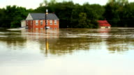Houses Under Water In Flood with Tilt Shift video